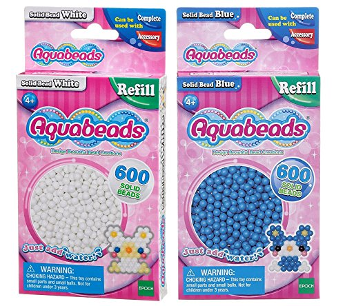 Aquabeads Solid Bead Pack Bundle - Weiß und Blau - 2 Lieferumfang