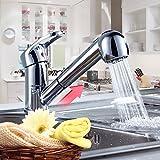 Auralum Einhebel Waschtischarmatur Küchenarmatur mit herausziehbarer Geschirrbrause Messing verchromt Armatur Mischbatterie Einhandhebelmischer Wasserhahn