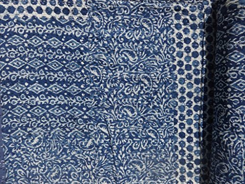 Handicrunch Indigo color Hand Block Printed Kantha Quilt, Patchwork Cotton Bedspread, Made By Artisians Of India