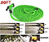 Gooseberry Ultra-Performance Hand Sprayer - 7 Spray Settings Water Saving Plastic Garden Hose End Sprayer. Best Multi Purpose Attachment for Watering Lawn, Plants, Patio Cleaning, Home, Automotive / Car Wash Use Expandable Hose 50 Feet, Expanding, No Kink