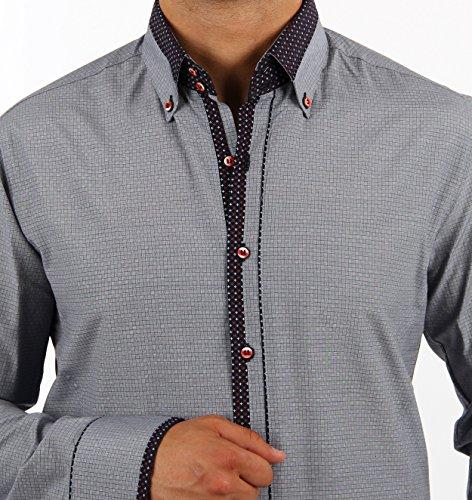H.K.Mandel -  Camicia Casual  - con bottoni - Basic - Uomo Grau