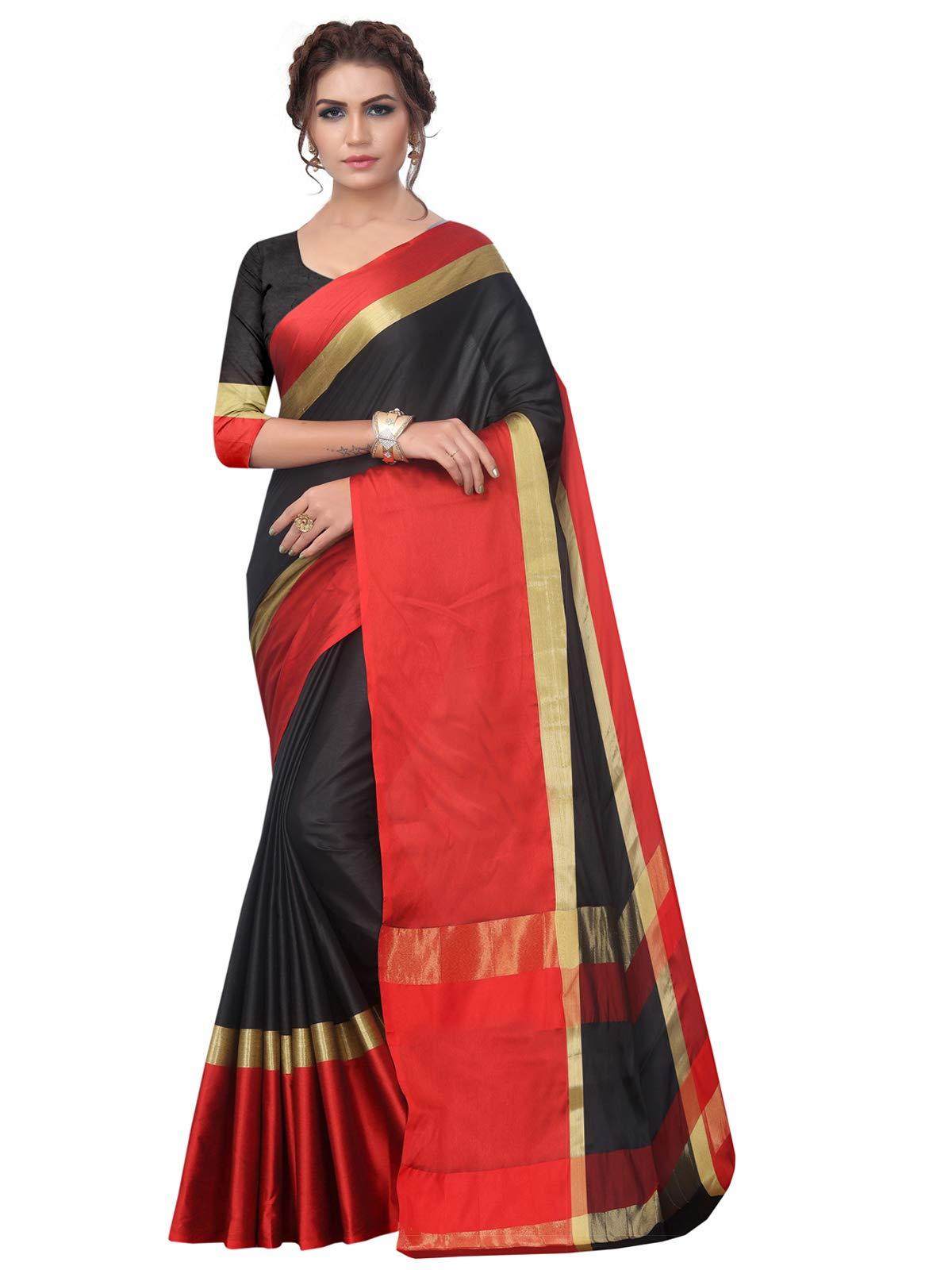 Kanchnar Women's Black and Red Poly Silk Woven Saree