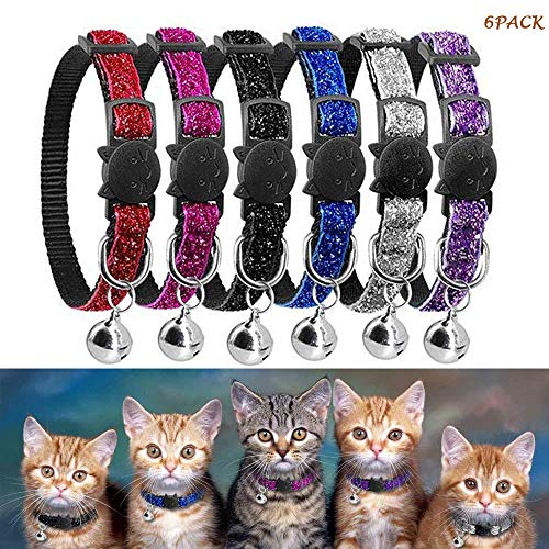 OneBarleycorn - 6 Stück Halsbänder für Katzen,Katzenhalsband mit Glöckchen,Reflektierend,Schnallenverschluss,Verstellbar 18–27 cm