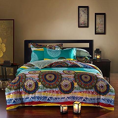 beddingleer 100% algodón ropa de cama moderna conjuntos de estilo Boho King funda de edredón cubre ropa de cama queen king size Floral Prints juego de cama 4piezas, elegante país europeo estilo juego de ropa de