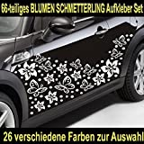 66-teiliges HIBISKUS BLÜTEN HAWAII BLUMEN SCHMETTERLINGE Auto Aufkleber Set - SB_002 (070 schwarz)