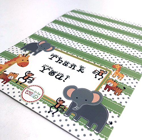 adorox 48teilig Baby Jungle Zoo Tiere Thank You Karten Baby Dusche Geburtstag Party Safari Thema Jungen Mädchen