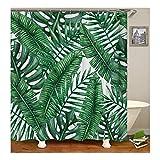Bishilin 3D Anti Schimmel Duschvorhang 165X200 Banana Bananenblatt Duschvorhang Waschbar aus Polyester-Stoff