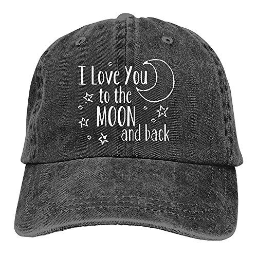 Mond-baseball-jersey (UUOnly Männer Frauen Einstellbare Baumwoll Denim Baseballmütze Ich Liebe Dich bis zum Mond und zurück Papa Hut)