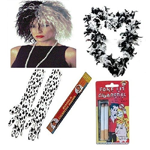 1920er Cruella de Ville 101Dalmatiner 5-teiliges Set Prop Evil Lady Fancy Dress Zubehör (Mega _ (Dalmation Outfits)