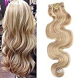 Moresoo Highlight Farben Echthaar Clip In Extensions Für Komplette Goldenbraun mit Bleichen Blond Gesträhnt/#12/613 Echthaar Clip in Hair Extensions 24Zoll
