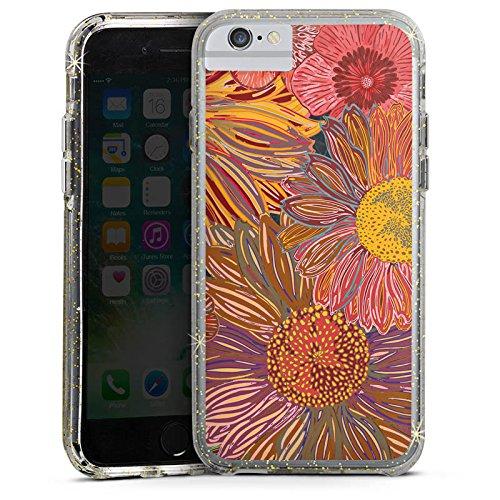 Apple iPhone X Bumper Hülle Bumper Case Glitzer Hülle Sonnenblume Red Rot Bumper Case Glitzer gold