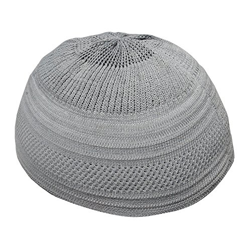 c6d70fc4a9d TheKufi Plain Grey Cotton Stretch Knit Kufi Hat Skull Cap - Comfortable Fit  (L)