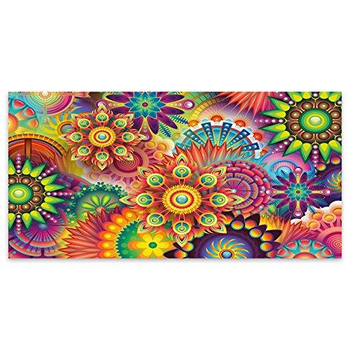 Farbige Blumen abstrakt Acryl Glas Wand Kunst -120cm x 60cm Glas Blumen Base