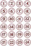 INDIGOS UG - Aufkleber für Adventskalender 1 bis 24 - weiß Vintage Style - Labels - Stickers - Weihnachtskalender - Weihnachten - Advent - rund - DIY cut - JDM - zum Aufkleben