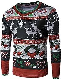 Shujin Herren Herbst Winter Weihnachtspullover mit 3D Weihnachtsmotiv Druck Christmas Sweatshirt Strickpulli Casual Rundhals Langarmshirt Oberteile
