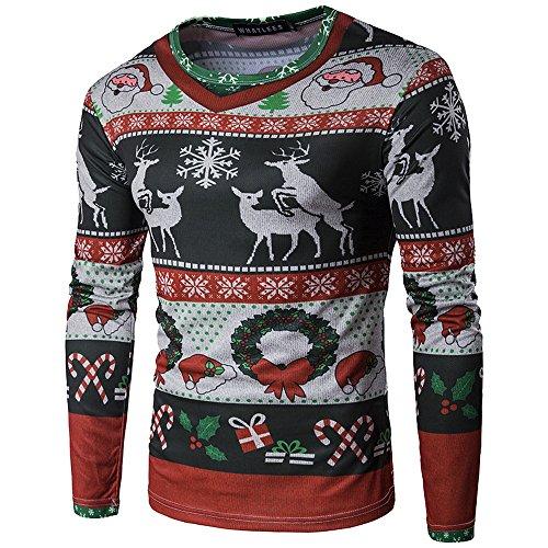 Vertvie Herren Langarmshirt Weihnachten Sweatshirts Rundhals Shirt mit 3D Weihnachtsbaum Druck (M/EU 44-46, Schwarz)