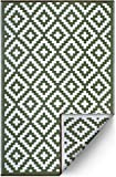 FH Home Indoor/Outdoor recyceltem Kunststoff Bodenmatte/Teppich - reversibel - Wetter und UV-beständig - Aztec - Leaf Green/White (180 cm x 270 cm)