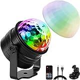 ELZO Disco Lights met sfeerlichtmodus, geluidsgestuurde LED-discobalverlichting met 4M USB-kabel en zuignap, afstandsbedienin