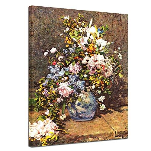 Auguste Renoir Leinwand (Wandbild Pierre-Auguste Renoir Stillleben mit großer Blumenvase - 50x60cm hochkant - Alte Meister Berühmte Gemälde Leinwandbild Kunstdruck Bild auf Leinwand)