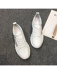 QQWWEERRTT Zapatillas de Deporte de Moda Mujer Nuevo Verano PU Zapatos de Mujer Zapatos Individuales Zapatos de...