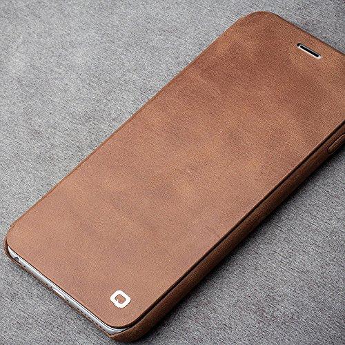 """qialino Echt Leder Flip Handytasche für iPhone 6/Plus, Ultra Slim Handy Blenden und Backshell Displayschutzfolie Fall mit Magnetisches Cover, Leder, Light-Brown, iphone6 4.7"""" Light-Brown"""