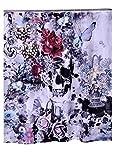 Polyester-Chun Yi-Totenkopf Schmetterling Blume Gedruckt Vorhänge Dusche Wasserdicht 182,9x 182,9cm Skull Butterfly Flower