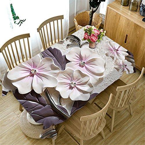 Nappe 3D en polyester sculpté fleurs blanches étanche à la poussière de décoration de table couvercle de table différentes tailles , j