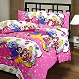 BALAJI FAB™ BARBIE GLACE COTTON KING SIZE BEDSHEET WITH TWO JUMBO PILLOW COVERS