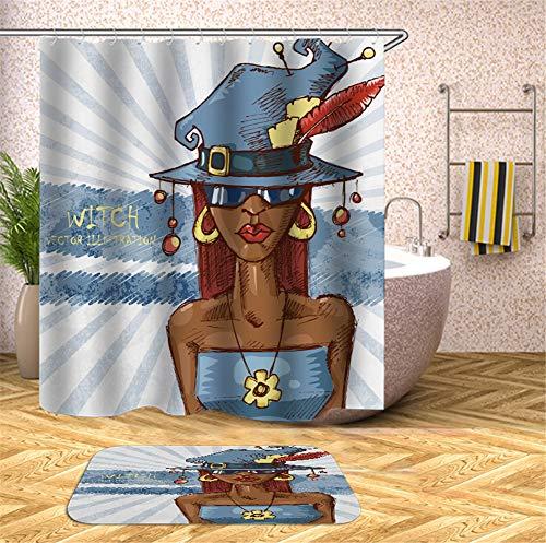 Hippie-Mädchen In Einem Blauen Kleid. Trägt Einen Blauen Hut Und Eine Brille. Duschvorhang. Wasserdicht. 180X180Cm. Teppich. Plus Samt. 40X60Cm.