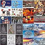 Weihnachtskarten (Set 4): 24 Motive - ein bunter Mix aus Nostalgie-Karten, Winter-Landschaften sowie lustigen Weihnachtspostkarten von EDITION COLIBRI © - umweltfreundlich, da klimaneutral gedruckt
