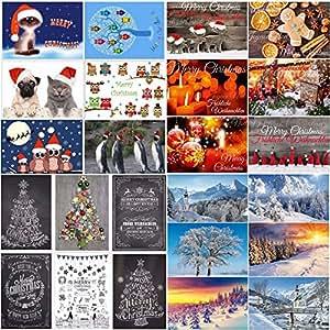 Weihnachtskarten set 4 24 motive ein bunter mix aus nostalgie karten winter landschaften - Weihnachtskarten amazon ...