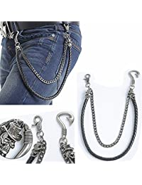 Generic Biker Men PU Leather Metal Double Link Wallet Chains Biker Trucker Punk Jean Key Chain