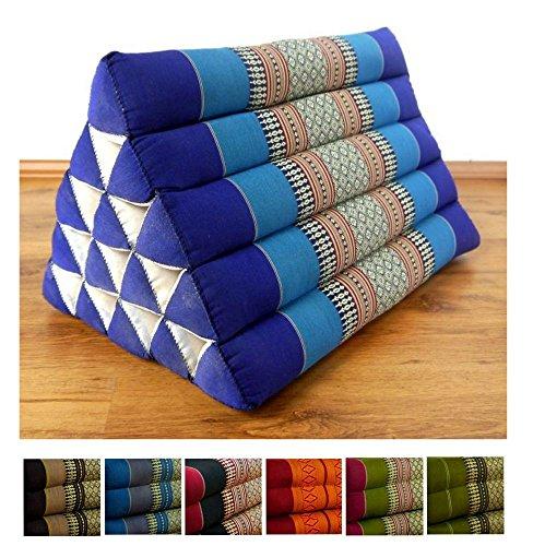 livasia Großes Dreieckskissen als Rückenstützkissen, Thaikissen bzw. Keilkissen, Nackenkissen fürs Bett (blau) (Label Kissen Bett Kissen)