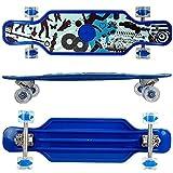 FunTomia Longboard aus Kunststoff BigBoard mit LED Rollen und Griptape MACH1 Kugellager (blau Street)