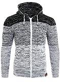 Reslad Strickjacke Herren Colorblock Kapuzen Cardigan Jacke RS-3109 Weiß 2XL