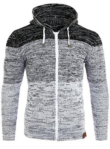 Reslad Strickjacke Herren Colorblock Kapuzen Cardigan Jacke RS-3109 Weiß L