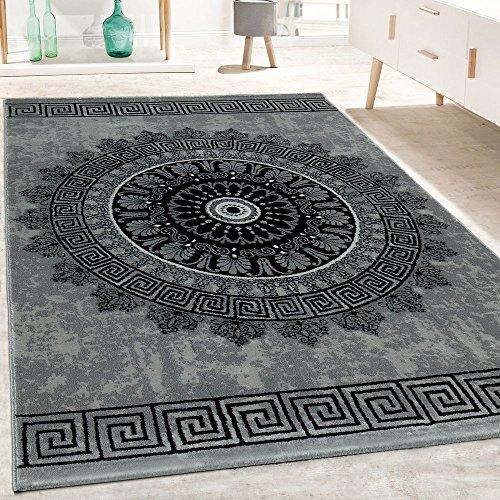 Alfombra Diseño Salón Estampado Mandala Pelo Corto Estilo Barroco Gris Y Negro, tamaño:80x150 cm