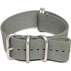 DaLuca Ballistic Nylon NATO Watch Strap - Grey (Matte Buckle) : 20mm