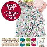 Myboshi Häkel-Set Babydecke Pünktchen 64cm x 67cm: 8 x Wolle Lieblingsfarben No.2 + Häkelanleitung + Häkelnadel + selfmade Label (Elfenbein / Limettengrün / Magenta /Türkis)