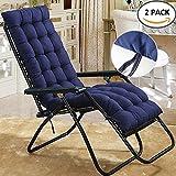 GreenRibbon Cojín reclinable de repuesto para tumbona de jardín, patio, silla gruesa, almohadillas de relajación, azul marino
