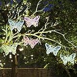 Valery Madelyn Frühling Eisen Deko Schmetterling Lichterkette Deko 1.2m Grüße Berühren mit 6 Stück LED Garten Dekoration 20 cm Intervalle 120 * 6 * 1.5 cm mit Hellrosa Hellblau Hellgrün