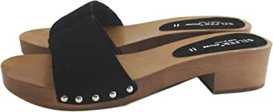 Silfer Shoes - Zoccolo in Vero Legno e Pelle di camoscio, Colore Nero -Moreno