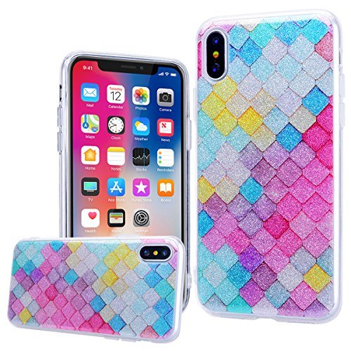 WE LOVE CASE Coque iPhone X, Souple Gel Coque iPhone X Silicone Paillette Glitter Brillant Motif Fine Coque Girly Resistante, Coque de Protection Bumper Coque Apple iPhone X Unicorn Cloud Mandala