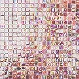 Mosaik Fliese Glas rot für BODEN WAND BAD WC DUSCHE KÜCHE FLIESENSPIEGEL THEKENVERKLEIDUNG BADEWANNENVERKLEIDUNG Mosaikmatte Mosaikplatte