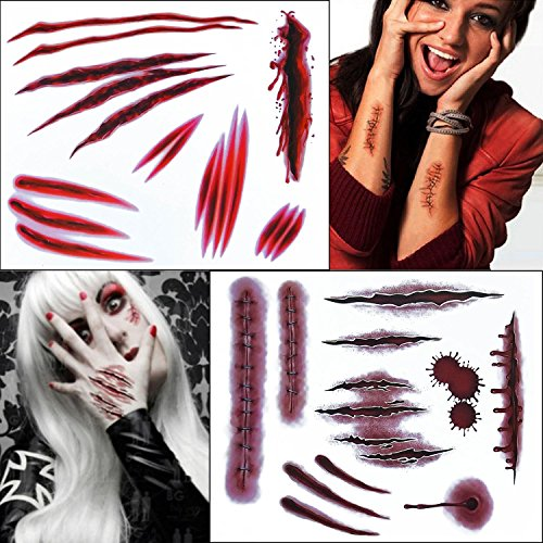 COKOHAPPY 2 Groß Blätter Halloween Temporäre Tattoo Wound Scar Narben Blutung Kostüm Party and Zombie Cosplay Set mit 2 (Diy Tag Der Toten Kostüme)