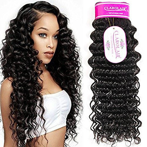 ClAROLAIR Brazilian Curly Hair Bundles Brazilian Deep Curly Human Hair Weave extensions locken echthaar Brazilian Hair Bundles 95g±5g Single One Bundle 24 Zoll