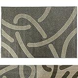 Design Teppich Curves | moderner Wohnzimmerteppich mit Trend Strich Muster | in 2 Größen und vielen Farben für Wohnzimmer, Esszimmer, Schlafzimmer etc. | grau / creme 160x220 cm