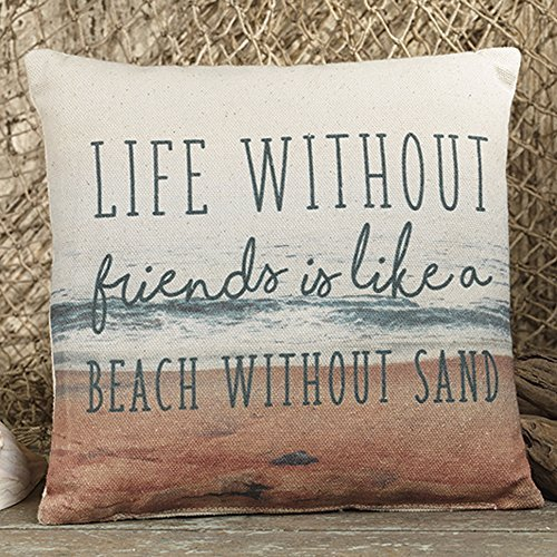 Canvas Kissen (The Country House Collection Life Friends Strandkissen, 20 x 20 cm, Canvas, dekoratives Kissen)