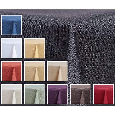 Deko-Home24–Mantel rectangular (aspecto de lino, resistente al agua, 130x 220cm), color gris