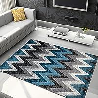 Alfombra De Salón Moderna – Color Fume Gris Azul De Diseño Geométrico Triángulos – Suave – Fácil De Limpiar – Mejor Calidad – Diferentes Dimensiones S-XXXL 120 x 170 cm